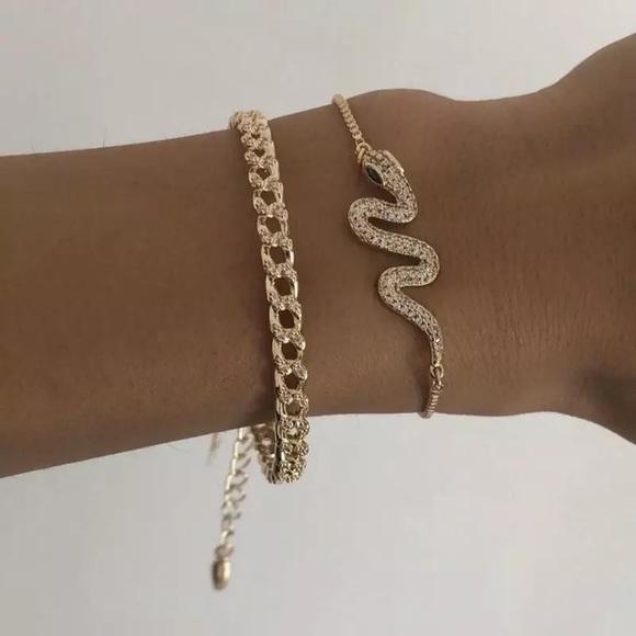 3/$30 💛 2pc Chain Snake Bracelet Set